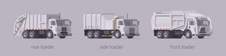 Vector white garbage truck set. Front loader side loader & rear loader. Isolated illustration
