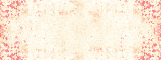 Abstract beige pastel painted berry red spotted watercolor paper texture background banner panorama