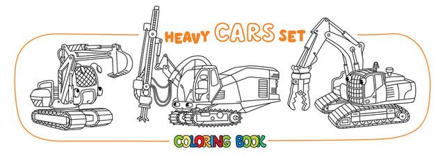 Garden Poster Retro sign Funny constuction small cars set. Coloring book