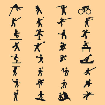 Various sport and athletics vector icons set