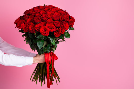 Photo of cropped man arms hold big one hundred red bright roses bunch giving girlfriend surprise hiding face secret admirer arrangement delivery concept isolated over pink color background
