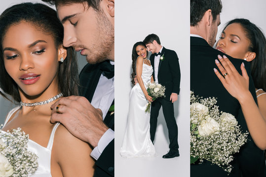 collage of handsome bridegroom in black suit and beautiful african american bride in white, satin wedding dress on white background