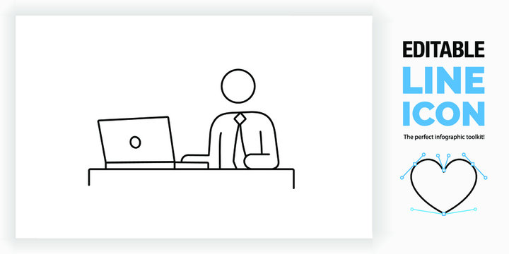 Editable line icon of a stick figure person on a computer sitting at his desk in a office wearing a corporate suit with tie looking at the screen of his laptop in a black stroke as a eps vector design
