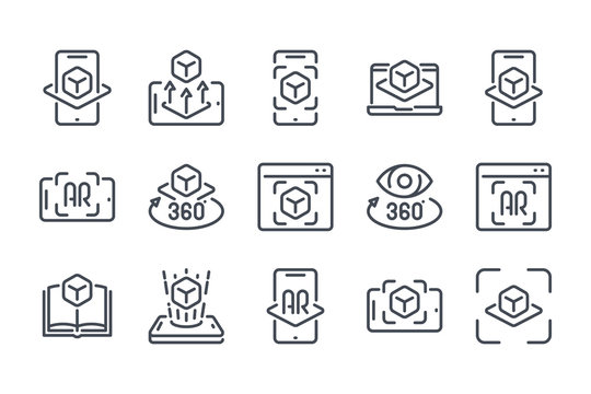 Augmented Reality Vector Line Icon Set. Interactive simulation and Virtual Reality Outline Icons.