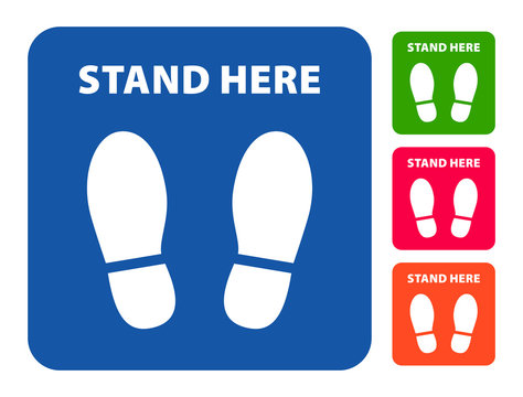 stand here social distancing foot print label vector maintain social distancing to stop coronaviurs (covid-19)