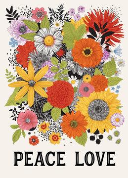 Peace Love. Graphic floral composition. Retro. 60s. Colorful