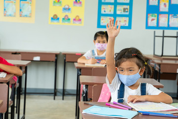 School kids wearing protective mask to Protect Against Covid-19,Group of school kids with teacher...