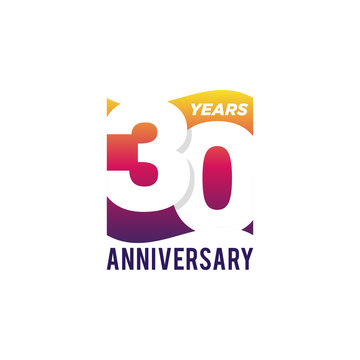30 Years Anniversary Celebration Icon Vector Logo Design Template. Gradient Flag Style.