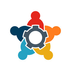 Teamwork of Five people logo. People group spinning gear concept of collaboration and great work