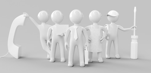 Concept of teamwork, assistance or support concept. 3d rendering