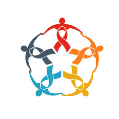 Teamwork of five ribbon people logo. People group going strong concept of support and community