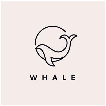 Whale monoline logo design icon vector illustration