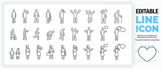 Editable set of stick figures, part of a huge collection of  line icons and stick figures!