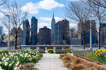 Empty Walkway at Gantry Plaza State Park in Long Island City Queens New York with a view of the...