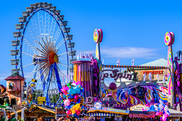 Munich, Germany - October 1: famous ferris wheel and decoration at the annual oktoberfest in Munich on October 1, 2019