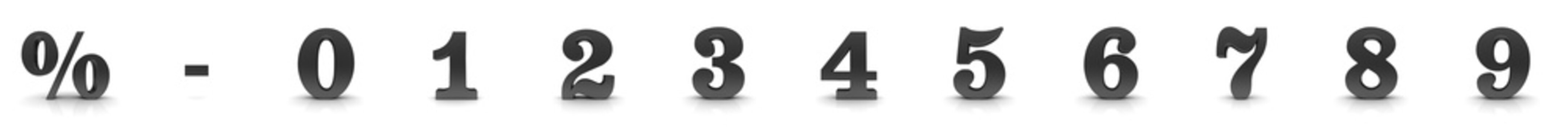 numbers 3d black 01 2 3 4 5 6 7 8 9 percent sign percentage symbol interest rate sale discount icon