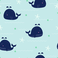 Cute seamless pattern Whale float in the sea with starfish and water waves. Hand painted cartoon animal character background Used for fabric, textile, fashion, vector illustration.