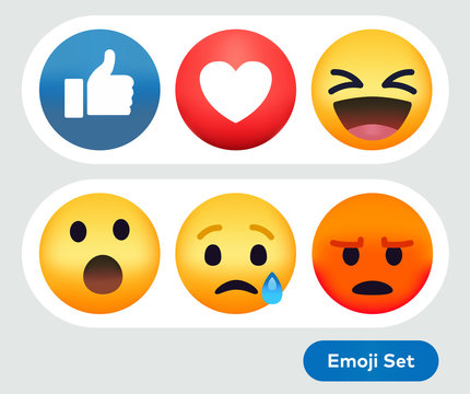 Social Media Emoticon Reaction Emojis Icon Set