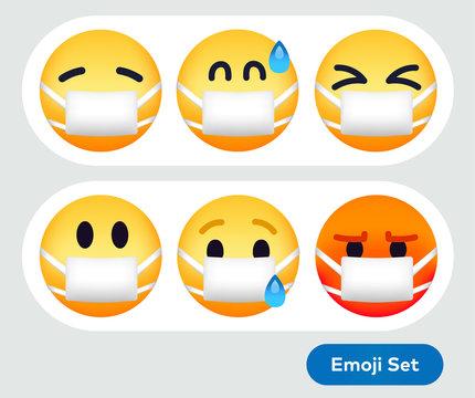 Emoticon Wearing Face Mask Coronavirus Sick Emojis