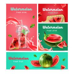 Keuken foto achterwand Wanddecoratie met eigen foto Watermelon Realistic Banners Set