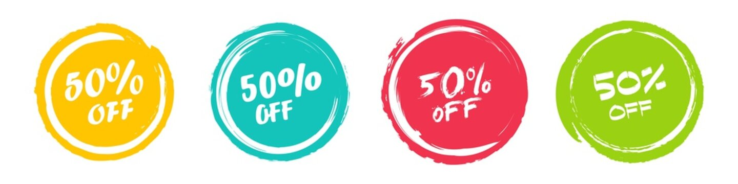 Set of grunge sticker with 50 percent off in a flat design. For sale, promotion, advertising