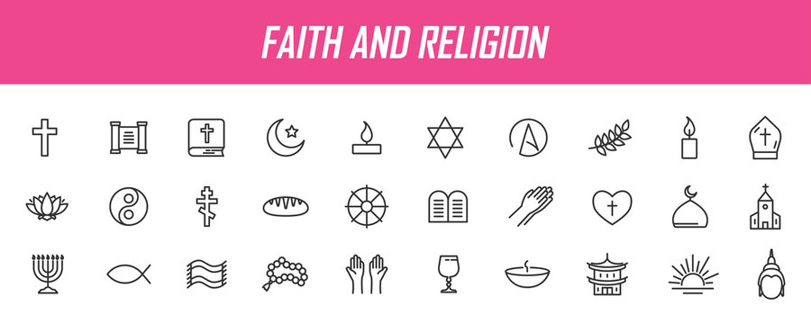Set of linear religion icons. Faith icons in simple design. Vector illustration