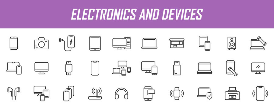 Set of linear electronic icons. Device icons in simple design. Vector illustration