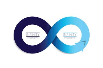 Infinity arrow infographic. 2 step options template, scheme, diagram, chart.