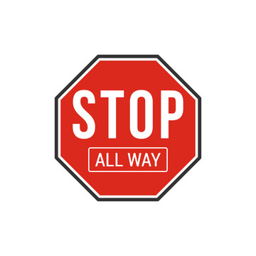 Stop all way sign. Vector Illustration
