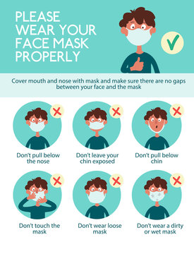 Infographics. Wear your face mask properly. Funny cartoon boy shows how to wear a mask incorrectly. Poster during a pandemic of a coronovirus infection covid-19