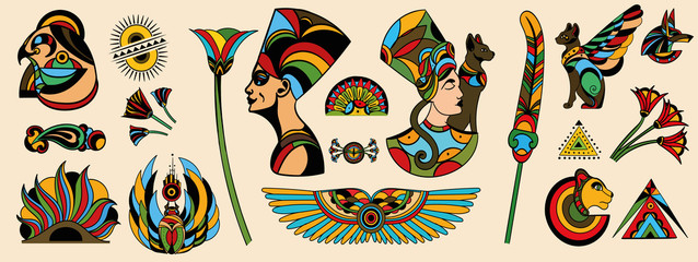 Large collection of colorful ancient tattoo designs from assorted cultures isolated on off white for design elements, colored vector illustration