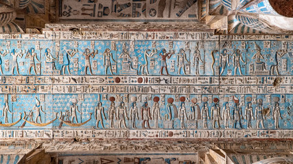 Tuinposter Egypte Dendera temple or Temple of Hathor. Egypt. Dendera, Denderah, is a small town in Egypt. Dendera Temple complex, one of the best-preserved temple sites from ancient Upper Egypt.