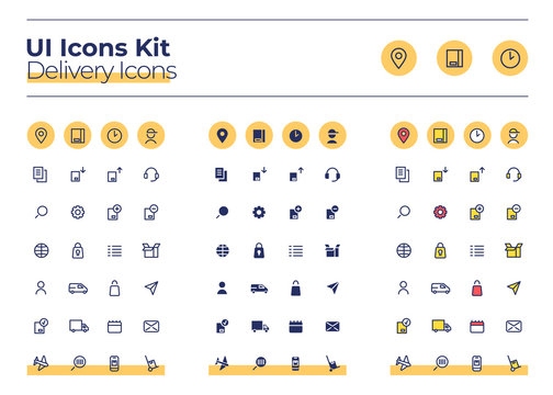 Delivery UI icons kit. Courier service thin line, glyph and color vector symbols set. Order track. Cargo distribution mobile app buttons in orange circles pack. Web design elements collection