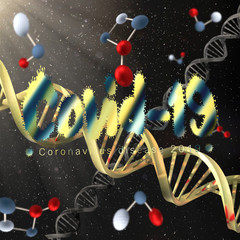 3D rendering illustration of covid 19 virus cells and DNA strands