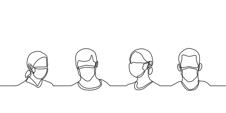 One line drawing of man and woman wearing medical masks to prevent disease, flu, air pollution, contaminated air, world pollution. Men and women wearing protection from coronavirus, COVID-19.
