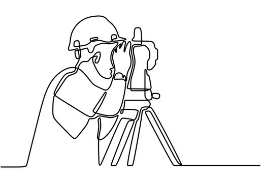 Single line drawing of young construction worker using land measuring instrument. Civil workman wearing helmet and uniform measuring soil. Building constructor concept continuous line draw design