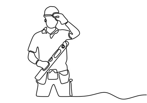 One single line drawing of young handyman wearing helmet while holding spirit level. Craftsman home repair service concept. Repairman construction maintenance service concept