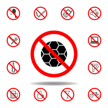 Forbidden ball, playing icon. set can be used for web, logo, mobile app, UI, UX