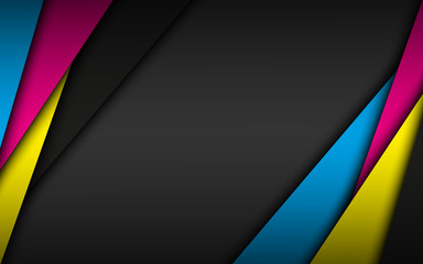 Black modern material background with overlapped layers in cmyk colors. Template for your business. Vector abstract widescreen background