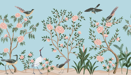 Vintage garden tree, birds, crane floral seamless border blue background. Exotic chinoiserie wallpaper.