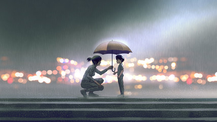 Keuken foto achterwand Grandfailure the woman gives an umbrella to the boy in the rain, digital art style, illustration painting