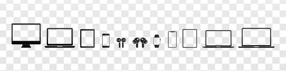 Set of Transparent Device Icons: Desktop computer, Laptop, Tablet, Phone, Watch and Headphones in Classic Vector Style 2020 for Web and App compatible EPS 10