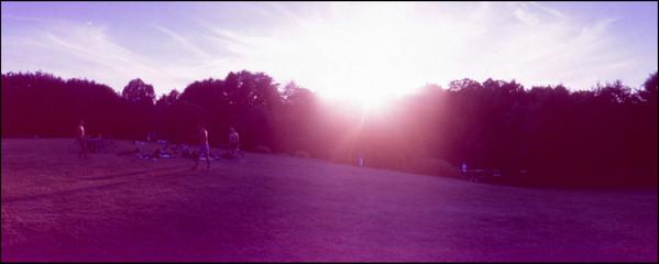 Foto auf Gartenposter Flieder Landscape Against Silhouette Trees
