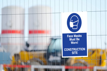 Construction site face mask must be worn sign