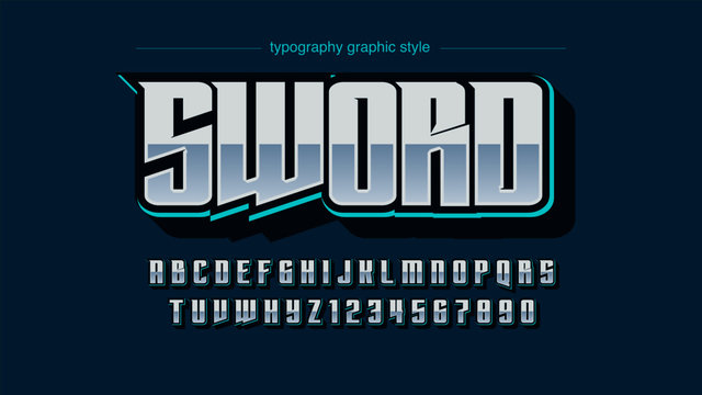 Light Blue Chrome Modern Futuristic Sports Font Design for Logos