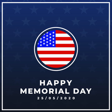 Happy memorial day 25/05/2020 modern creative banner, sign, design concept with white text, USA flag on a dark blue background