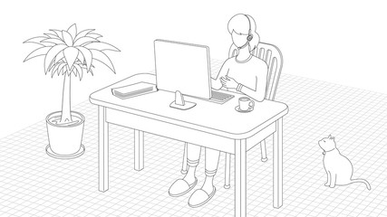Illustration with telecommuting concept