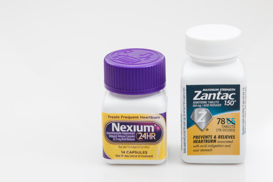 PENSACOLA, FL - March 11, 2017: Zantac and Nexium are two of the most commonly used antacids.