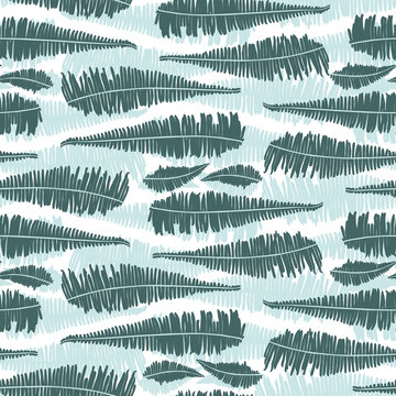 Vector green mint jungle ferns with white background horizontal stripes seamless pattern. Suitable for fabric, wallpaper and gift wrap.