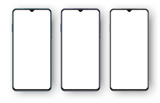 set of three different colored phones with selfie cameras. modern realistic 3d smartphones mockup,